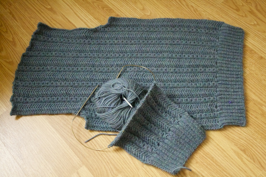 Herringbone cardigan back and left front