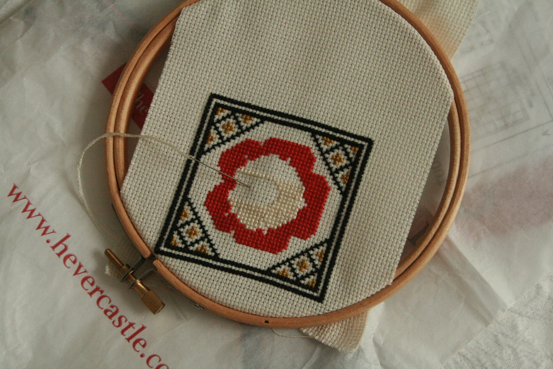 Tudor rose embroidery